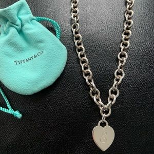 Tiffany Silver Heart Tag Charm Necklace initial E